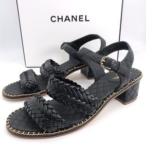 Chanel Auth CC Quilted Braid Strap Chain Sandals